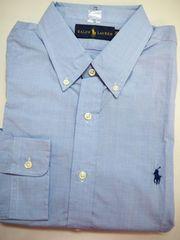 ラルフローレン長袖ボタンダウンドレスシャツ16.5(42)チェック青