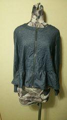 紺 ネイビー ペプラム裾 フルジップジャケット L カーディガン
