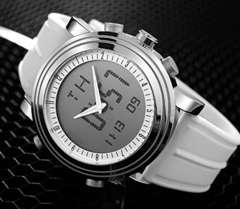 スポーツ腕時計 デジタル アナログ 多機能 LED白