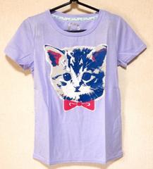 ☆リボンCAT転写風プリントTシャツ☆ラベンダーねこ
