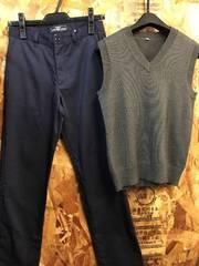 新品☆男の子150サイズ紺綿パンツ&ベストのセット☆j699