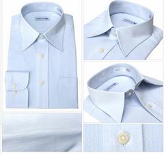 新品未使用タグ付き形態安定ワイシャツ長袖ノーアイロン形状記憶サイズMブルー系