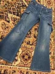 キッズ ワイドジーンズ ブーツカット スパンコール可愛い125.130
