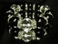 特大16mm!ダイヤカット水晶×ブラックオニキス数珠ブレス