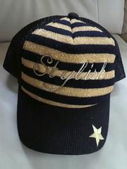 【新品】キャップ/帽子☆ボーダー柄(ゴールド
