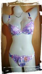 C70/M ライトパープル刺繍ブラジャーショーツセット 水彩花 パンティー
