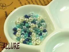 穴なしパール ブルー系×ホワイト2〜4ミリMIX レジン 100粒