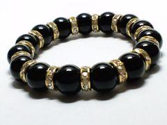 天然ブラックオニキスx金ロンデル§12ミリ§黒瑪瑙数珠