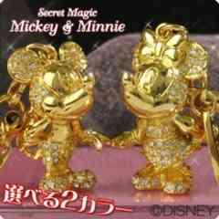 愛*LOVEミッキーマウス&ミニーマウス★ジュエリーストーン*ペアストラップゴールド