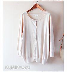 KUMIKYOKU*組曲*フラワーボタンのレーヨンカーディガン・15号♪