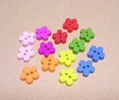 カラーウッドボタン14個花小