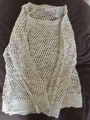 新品 カギ編み長袖ラメ入りすかしニット/ベージュ