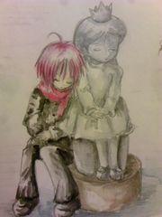 オリジナル自作イラスト銅像少女と少年