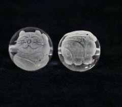 天然水晶12mm☆招き猫(左手)ビーズ@1個