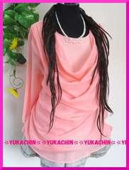 春新作◆大きいサイズ5Lピンク◆ビジュー付◆前ドレープチュニック