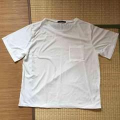 大きいサイズ3L・胸ポケット付ホワイトカラーTシャツ