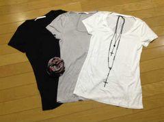 ブラックバイマウジー無地Tシャツ3枚+ストール+ネックレス5点セット