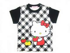 *Hell Kitty*ハローキティ*キティchan シェパードチェックTシャツ*ブラック*95�a*新品*