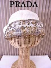 PRADA プラダ リング ビーズ 装飾 麻素材 帽子 ハット ベージュ★dot
