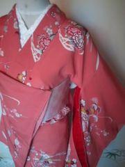 アプリコット古典華袷人絹144美品小振袖