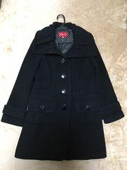 アプワイザーリッシェ丸襟くるみボタンロングコート黒ブラック1