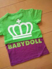 新品切替Tシャツ黄緑90ベビードールBABYDOLLベビド