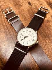 TIMEXタイメックス腕時計 黒茶色 牛革替えベルト付き クルーエル