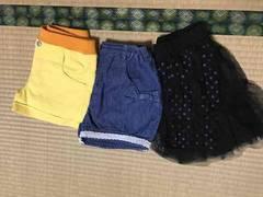 女子140�pショートパンツ、スカート3点セット