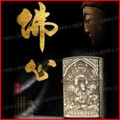 観音菩薩 五面総彫り オイルライター CHIEF ゴールド zippo 梵字