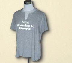 送料無料グレー英字Tシャツ3L