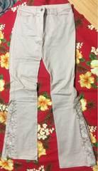 レストローズ☆薄いピンク☆お花刺繍パンツ☆