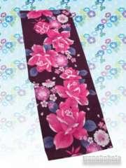 【和の志】女性用変わり織り浴衣◇F◇赤紫系・薔薇◇NOT-13