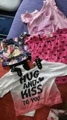 80-90サイズ 女の子Tシャツセット+スカッツ 一部新品