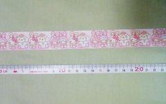 約22mm巾【着ぐるみ】キティ&キキララ柄リボン1M