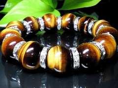 金運天然石◆高級タイガーアイ虎目石16ミリ◆銀色ロンデル人気数珠