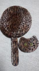 ヒョウ柄ベレー帽子ネコ顔シッポ付レオパードあちゃちゅむ好き