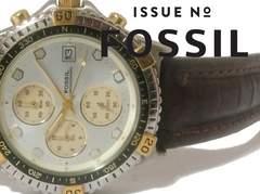 良品 1スタ★FOSSIL【クロノグラフ】美しいメンズ腕時計