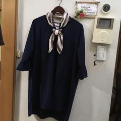 3L☆新品スカーフ付き7分フレア袖の紺ワンピース