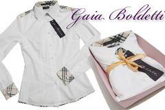 新品Gaia Boldettiイタリア製チェックシャツブラウス白#40#42