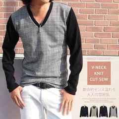 メンズ グレンチェック ニット セーター