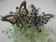 きらきら綺麗な蝶のクリップ 大 【ゴールド】