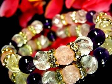 バラ彫ローズクォーツ§スクリュー水晶§アメジスト§8ミリ§花金ロンデル