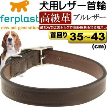 犬用本格ブルレザー首輪VIP幅2首まわり35〜43cm重量60g Fa163