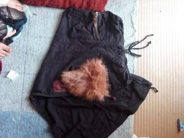 美品ゴァgoa のファー付きロングスカートブラック