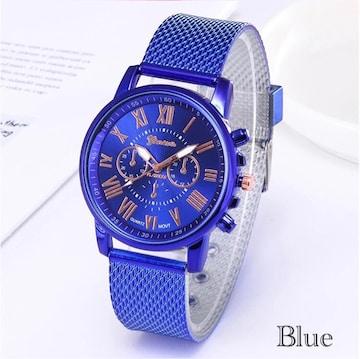 腕時計 時計 ギリシャ文字 ステンレス メッシュ ブルー