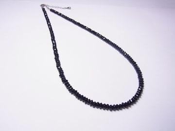 ◆ブラックスピネルネックレス◆アジャスター&ドロップエンドパーツ付き
