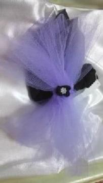 D23 送込 ワンchan用〓浴衣〓飾り〓ラベンダーにパール付お花