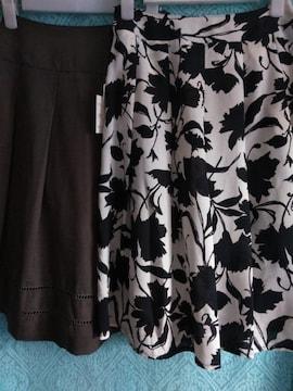 新品レディースウエスト61サイズ Ray Cantrelひざ下丈フレアスカート等2点夏物