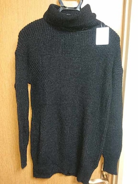 アンタイトル昨季新品黒モヘヤ混ざっくりタートルニットセーター大きいサイズ413号15号