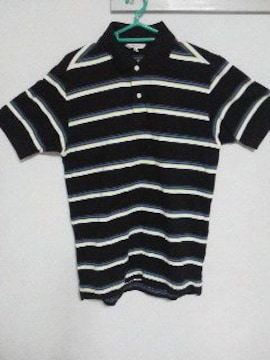 Fー144★UNIQLOメンズ半袖ボーダー柄ポロシャツ ブラック M